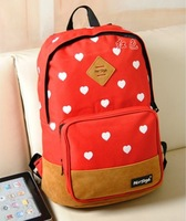 leisure cartoon school bag princess canvas 2013 backpack laptop bag female bags for teenagers heart cute mochila free shipping