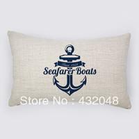 marine style anchor retro style cotton pillow square pillow lumbar pillow cushion sofa cushion with core