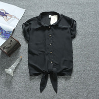New 2013 women chiffon shirts short-sleeve blouses women tops with a bow, free shipping,wholesale and retails