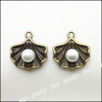 60pcs Vintage Charms Shell Pendant Antique bronze Zinc Alloy Fit Bracelet Necklace DIY Metal Jewelry Findings