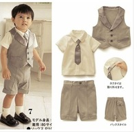 2013 summer children formal dress cool preppy style male child set vest short-sleeve T-shirt capris children's clothing