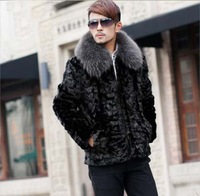 Genuine 100% Natural Mink Fur Coat With Fox Fur Collar Jackets Free shipping