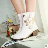 2013 Fashion Casual Women's Pumps Shoes Brands With Platform Black White Leather Big Size Boots XZ2010