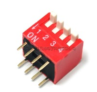 20pcs/lot 4PIN DIP switch / pull switch / side pull / 2.54MM Free Shipping