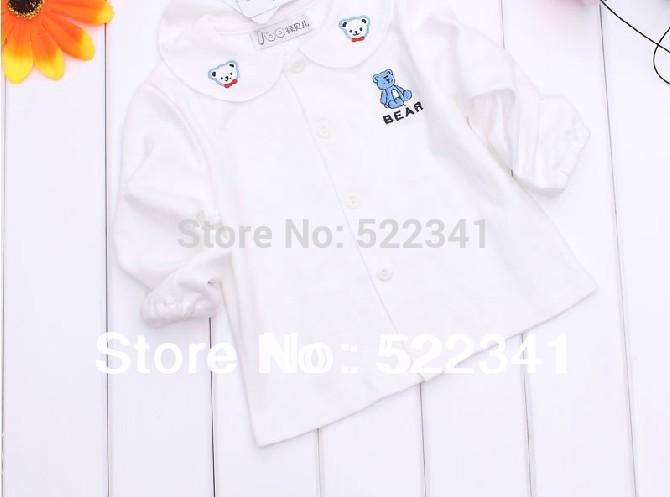 Boys and girls spring and autumn cotton dress shirt bottoming bottoming shirt baby cotton white shirt(China (Mainland))
