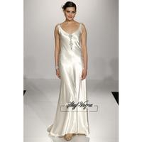 13W018 Beaded V-Neck Satin A-Line Brush Train Gorgeous Luxury Unique Brilliant Bridal Wedding Dress Free Shipping