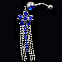 1 PCS 14g Blue crystal Flower tassel Steel bar Belly Navel ball Ring QH110-B