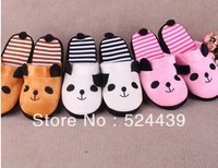 winter for women at home  popular winter Cute Panda striped home furnishing Plush mop the floor couples warm skidproof slipper