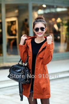 new 2014 autumn winter  women   slim plus size medium-long  hooded trench coat / women windbreaker / desigual coat