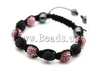 Free shipping!!!Rhinestone Shamballa Bracelets,Exquisite, rhinestone pave bead, with Nylon Cord & Non-magnetic Hematite, woven