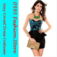 Free Shipping! Woman Light Blue Sequin StraplessTop Peplum Mini Dress  HL2741-2
