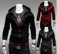men's Casual coat,Contrast color,Hooded Long Coat,False two-piece coat,zippered coat,M079