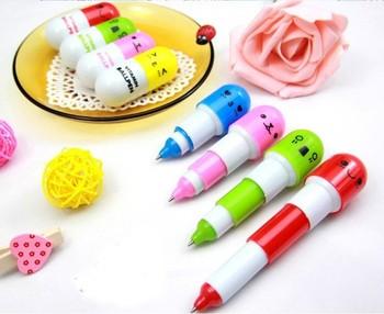 50 pcs Office supplies Retractable pen/Ball point cartoon face Capsule pills Pen