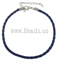 Free shipping!!!PU bracelet cord,Jewelry For Men, with Iron, brass lobster clasp, with 2.5lnch extender chain