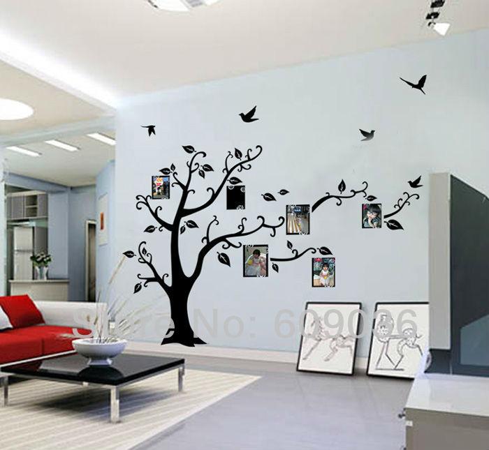 Large negro marco de la familia foto Tree cotización de la pared ...