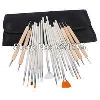 2014 New Hot Selling 20pcs Nail Art Design Painting Detailing Brushes & Dotting Pen Tool Kit Set Shipping