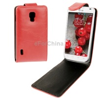 Red Crazy Horse Texture Vertical Flip Leather Case For LG Optimus L7 II P715