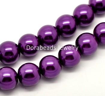 "1 Strand Dark Purple Glass Pearl Imitation Round Beads 12mm(1/2"") Dia. 80cm(34-1/2"") long (B18341)8seasons"