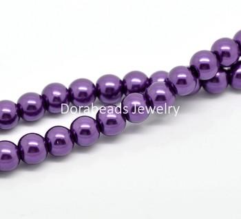 "5 Strands Dark Purple Glass Pearl Imitation Round Beads 8mm( 3/8"") Dia.  (B19349)8seasons"