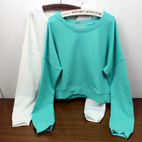 Freeshipping Short design candy color sweatshirt pullover young girl preppy style nda sty
