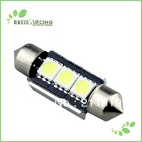 10pcs / Lot  Bright  White 41MM 3 SMD CANBUS LED Canbus LED FLight Bulb Lamps Freshipping