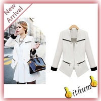 IFM  On sale Free shipping blazer 2012 fashion zipper leopard print color block bags small suit jacket blazer female blazer