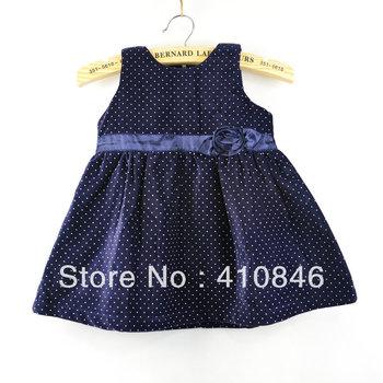 girls dresses new fashion 2013 Girl's Princess Dress Dots Three-dimensional flower Print Dresses 4 colors 5 pcs lot BS1040