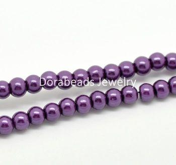 "5 Strands Dark Purple Glass Pearl Imitation Round Beads 4mm( 1/8"") Dia.  (B19348)8seasons"