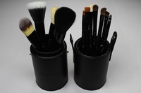 Free shipping whole sell price New black Professional Makeup Brush Set 12 pcs Kit w/ Leather Cup Holder Case kit