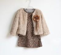Children girl's fashion autumn long sleeve leopard dress (Dress + wool coat ) kids clothing 2 pieces set  Fress shipping