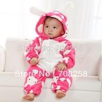 4pcs/lot - 2014 new baby girls winter rabbit romper infant long sleeve cotton fleece jumpsuits children warm clothing 171