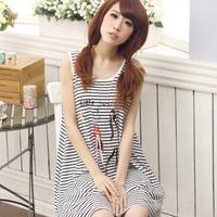 Summer female cartoon nightgown sexy stripe polka dot lounge  modal sleepwear