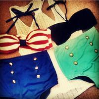 Fashion vintage high waist color block stripe decoration vintage small steel push up bikini swimwear female