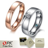 OPK JEWELRY 2013 New Arrival Couple Promise Titanium Steel Ring High Fashion Cross Crystal Design 383