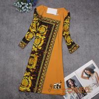 New European 2014 Spring Fall Vintage Brand Luxury Floral Print Asymmetry Cotton Silk Dresses Womens Plus Size Dress 4XL