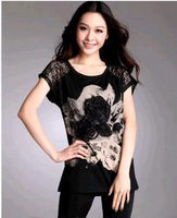 Summer new arrival 2013 plus size clothing loose lace long design top print casual short-sleeve T-shirt patchwork