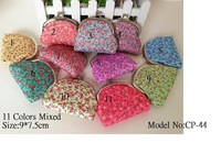 WholeSale 11 pcs~Japan!! Floral prints Canvas Coin Purse/Coin Bag/Purse/Wallet/Coin Bag/Coin Purse/(CP-44)