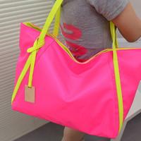 Portable women's handbag cool neon color block candy one shoulder big bags 2013 casual bag