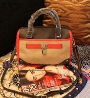 Fashion color block metal lock decoration women's handbag messenger bag handbag