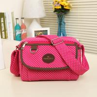 New arrival 2013 polka dot small bag compartment canvas bag messenger bag handbag women's