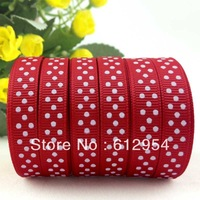 "5yards 3/8"" 10mm Grosgrain ribbon Polka Dots printed Red ribbon with white dots, DIY hairbow accessories, gift package RL002-5Y"