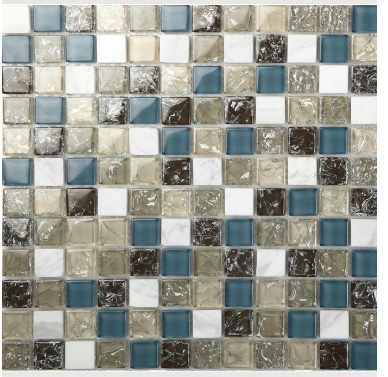 Glass Tile Backsplash Kitchen Art Design Colorful Crystal Glass & Stone Blend Mosaic Wall Stickers Bathroom Floor Tiles Washroom(China (Mainland))