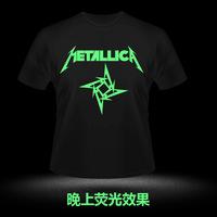 Metalica luminous t-shirt rock short-sleeve
