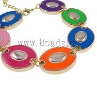 Free shipping!!!Zinc Alloy Bracelet,Wholesale Jewelry, enamel, nickel, lead & cadmium free, 26x20.50x7mm, Length:7.5 Inch