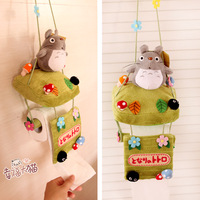 candice guo! creative hanging tissue pull cute cartoon Totoro plush paper towel holder home decoration 1pc