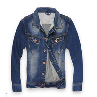 2013 autumn fashion slim paragraph in the motorcycle water wash denim outerwear denim jacket coat male