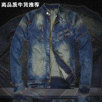 2013 spring motorcycle short design denim slim coat fashion outerwear male denim jacket male jacket