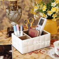 White sheepskin dsmv PU leather office desk storage box Large remote control desktop storage box Jewelry holder accessory box