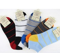 New N1863 combed cotton male ship stealth shallow mouth breathable horizontal striped socks man socks, cotton socks
