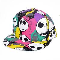2PCS Free Shipping Cartoon Skull Printed Women & Mens Hats and Caps Adjustable Hip Hop Korean Flat Brim Baseball Snapbacks